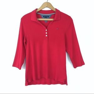 Tommy Hilfiger 3/4 Sleeve Ribbed Polo Shirt
